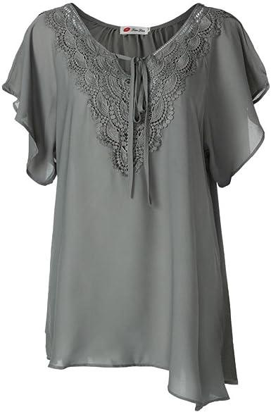 OHQ Camiseta de Encaje de Moda Para Mujer Curve Appeal Blusa de Manga Corta Bat Tops, Blusas Para Mujer Moda 2018, Camiseta Camisetas de Mujer de Moda: Amazon.es: Ropa y accesorios