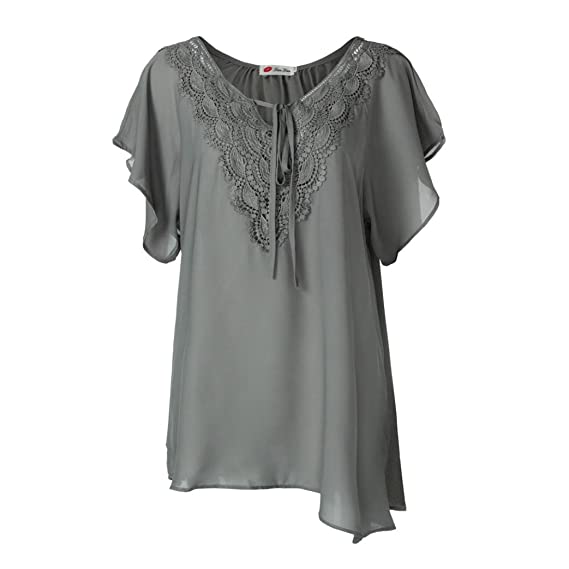 OHQ Camiseta de Encaje de Moda Para Mujer Curve Appeal Blusa de Manga Corta Bat Tops