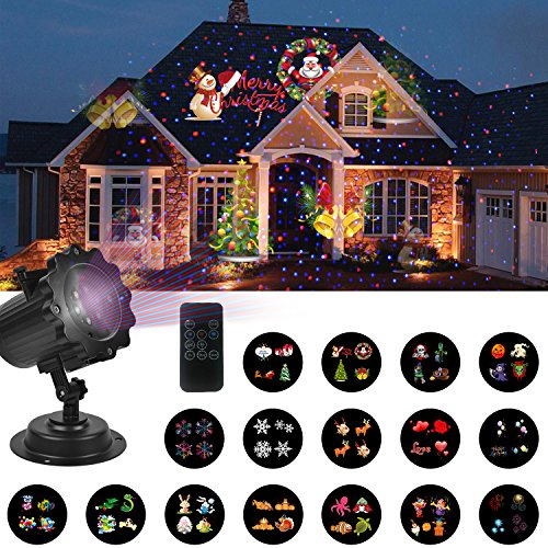 UNIFUN Christmas Decorations Lights Projector with Red Blue Star -16 Slides LED Landscape Projection Lights for Christmas, Halloween and Holiday Decorations with Remote Control and - Decorations Christmas