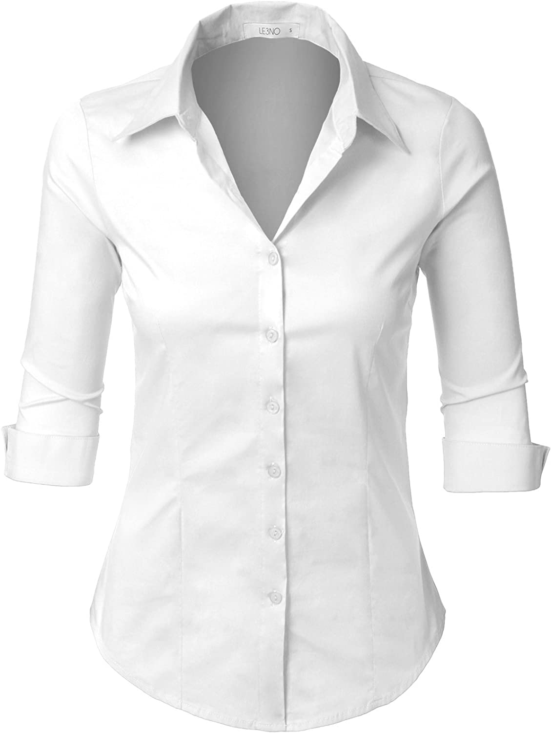 LE3NO Womens Slim-Fit 3/4 Sleeve V Neck Casual Work Shirts Top with Stretch