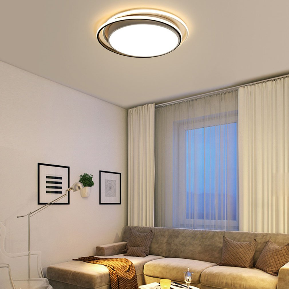 Modern LED Deckenleuchte, Dimmbar Deckenlampe Für Fernbedienung, Rund  Kreative Decken Licht, Metall Und Acryl Design Dekoration ...