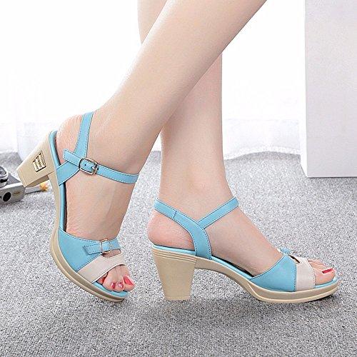 No. 55 Shoes Estate Sandali Donna con Vera Pelle Sottile e Scarpe,US8/EU39/UK6/CN39,Blu Cielo