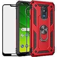 BestShare Funda para Moto G7 Power Case con Protector de Pantalla de Cristal Templado, Híbrida Rugged Armor Choque Absorción de Caja con Soporte Magnetic Car Mount Function, Rojo