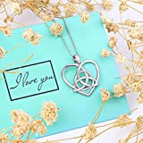 925-Sterling-Silver-Good-Luck-Irish-Celtic-Knot-Triangle-Vintage-Love-Heart-Pendant-Necklace-18-inches