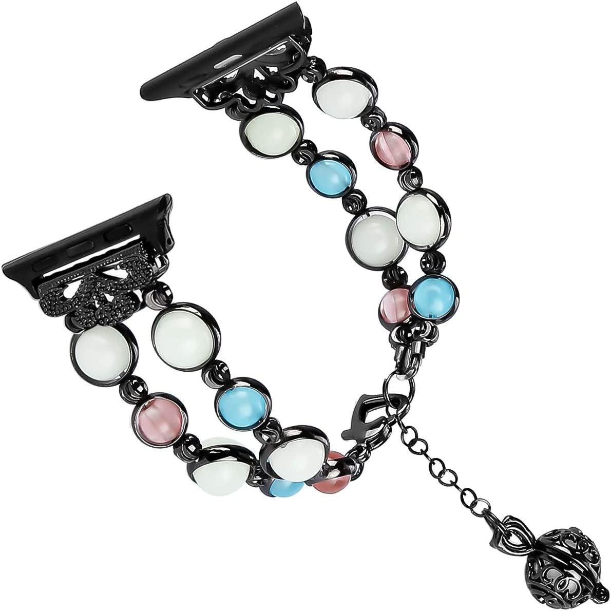 Tomazon Compatible Apple Watch Band 42mm 44mm Series 4/3/2/1, Unique Handmade Luminous Pearl Adjustable iWatch Bracelet Metal Link Wristband with Perfume Storage Pendant for Women Girl - Black