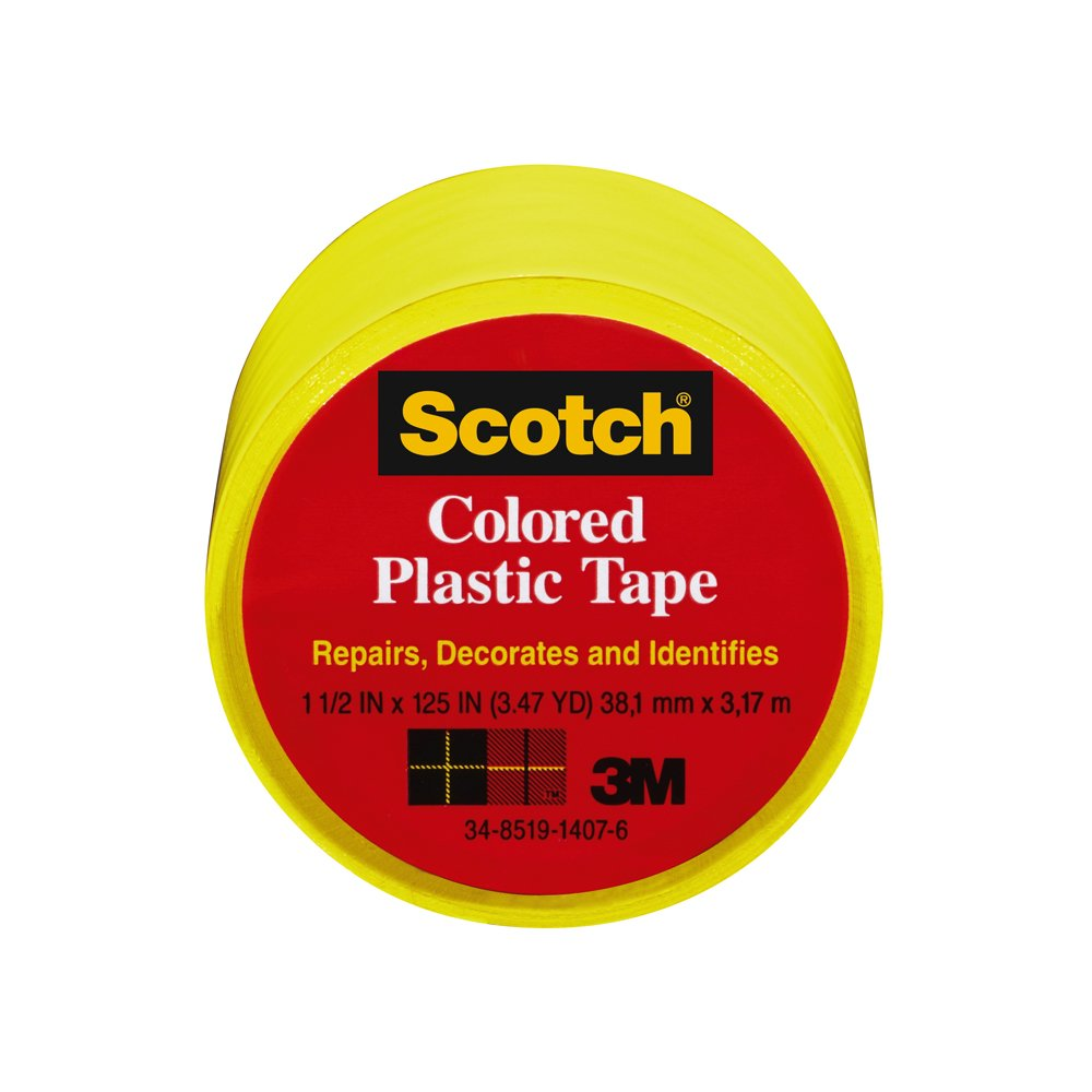 Scotch 191YL 6 Colored Plastic Tape 1.5 x 125 Inch Yellow