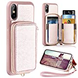 iPhone X Wallet Case, iPhone X Case with Card Holder, ZVE Shockproof iPhone X Leather Cases with Credit Card Holder Slot Wrist Strap for Apple iPhone X/iPhone 10 (2017) - Rose Gold
