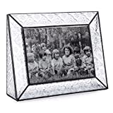 J Devlin Stained Glass Picture Frame Baby, Wedding, Family Photo Frame Holds 5x7 Horizontal Landscape Image Vintage Style Gift Pic 126-57H