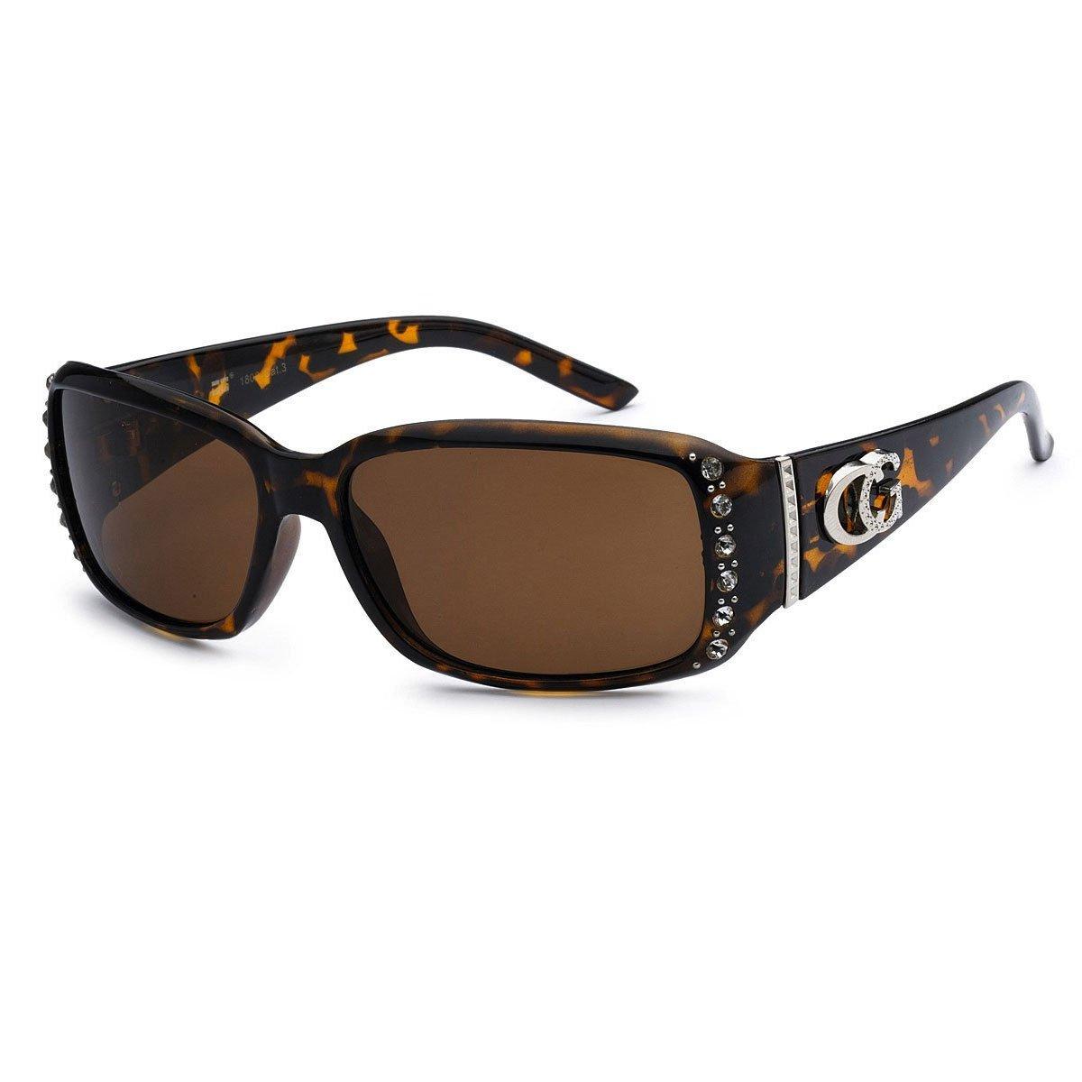 CG Sunglasses CG Lunettes de Soleil Strass clout/és /étroit rectangulaire Mode UV Protect 1 Moyen Noir