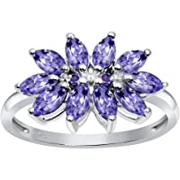 Orchid Jewelry 2.16 Ctw Natural Ruby, Tanzanite 925 Sterling Silver Ring for Women -A Beautiful, Dainty Design in Silver…