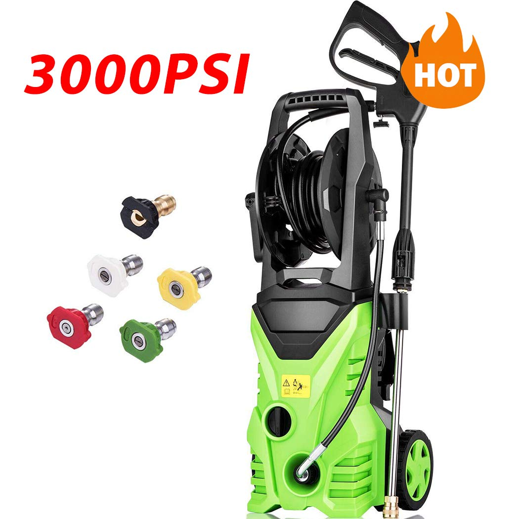Homdox 3000 PSI Electric Pressure Washer, 1800W Power Washer, 1.76GPM High Pressure Washer, Professional Washer Cleaner Machine with 5 Interchangeable Nozzles 3000PSI