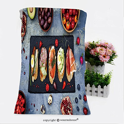 Pendelton Mini (VROSELV Cotton Microfiber Bathroom Bath Towel-mini sandwiches food set brushetta or authentic traditional spanish tapas for lunch table Custom pattern of household products(19.7