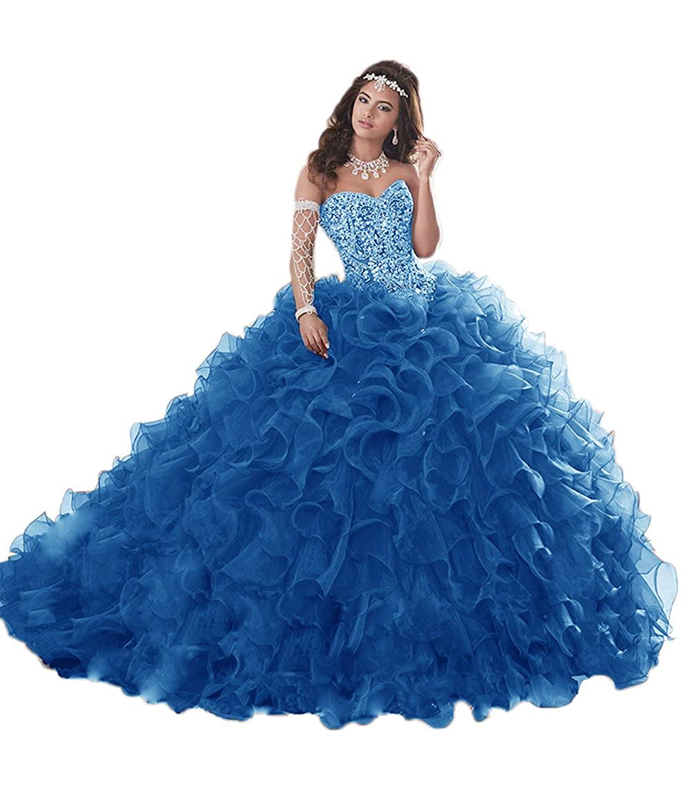 bluee APXPF Women's Heavy Beaded Organza Ruffle Quinceanera Dresses for Sweet 16 Prom Ball Gowns