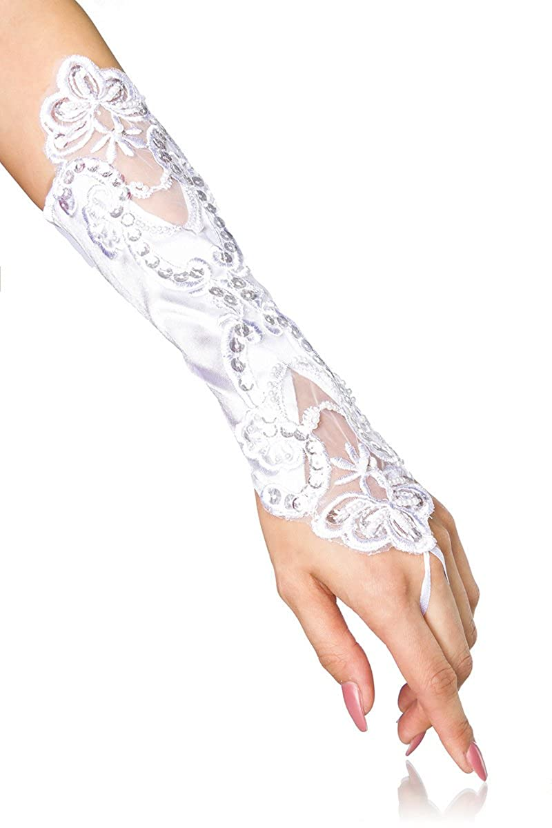 jowiha/® Lange Satin Handschuhe mit Spitze und kleinen Perlen in Schwarz oder Wei/ß