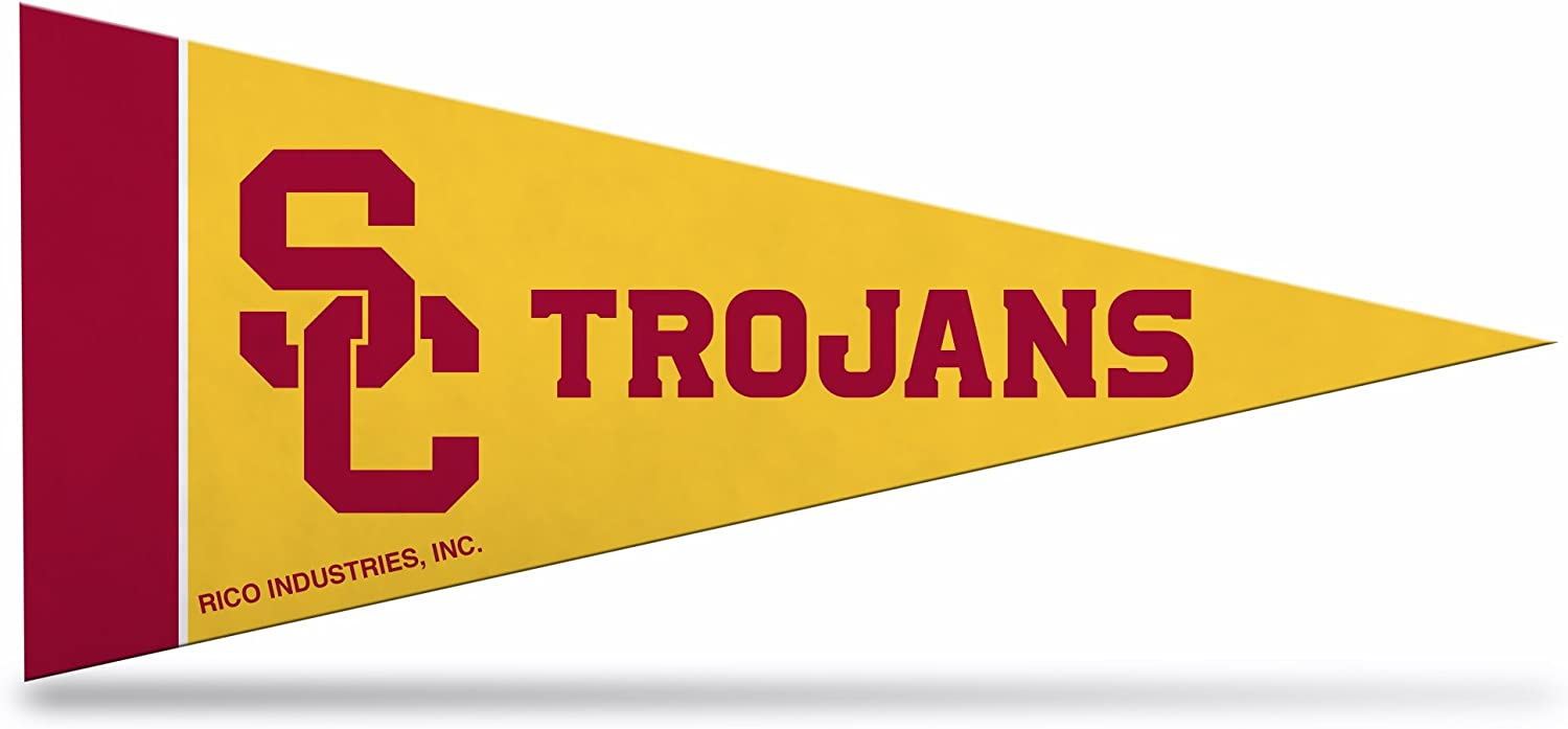 Rico Industries NCAA Southern California Trojans 4-Inch by 9-Inch Classic Mini Pennant Décor , Yellow