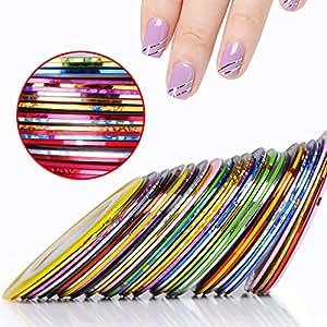 CLAVUZ 10Pcs Mixed Colors Rolls Striping Tape Line Nail Art Tips Nail Line Decoration Sticker