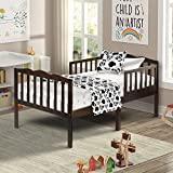 Harper&Bright Designs Classic Solid Wood Toddler Bed with headboard and Footboard (Espresso)