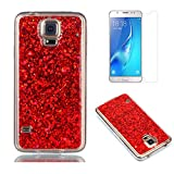 Fit for Samsung Galaxy S5 / S5 Neo Glitter Case with Screen Protector,OYIME [Red Sequins] Shiny Bling Luxury Design Clear Ultra Thin Soft Rubber Protective Back Cover Transparent Scratch Resistant Drop Protection Bumper