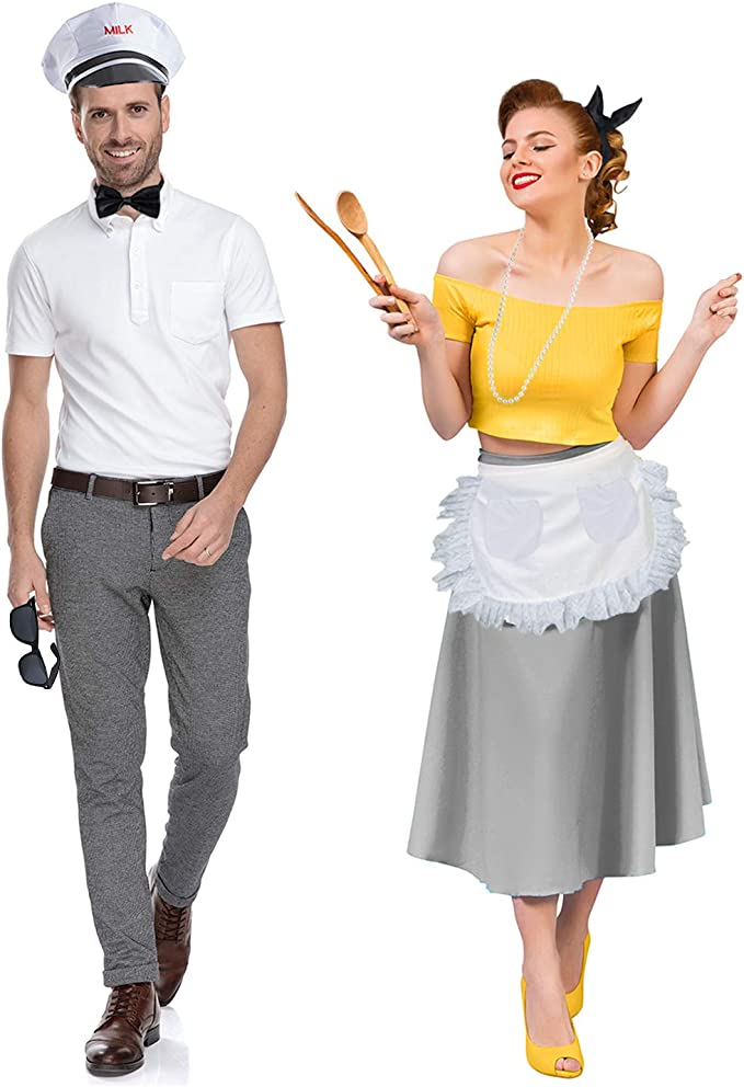 1950s Men's Costumes: Greaser, Elvis, Rockabilly, Prom Tigerdoe Milk Man & Housewife Costume - 50s Costumes - Couples Costume - 1950s Costumes - 6 Pc Set White  AT vintagedancer.com