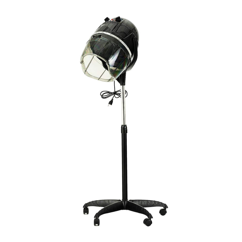 Dakavia Professional Salon Hair Bonnet Dryer, Hood Floor Rolling Wheels Stand Up Station Barber Beauty Equipment, Black