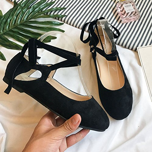 Shoes Womens Toe Classic on T JULY Ballet Black Slip Round Retro Flats Straps PO5H8qw5