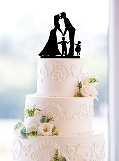 Amazon Com Wedding Anniversary Cake Topper Couple With 2 Kids Boy