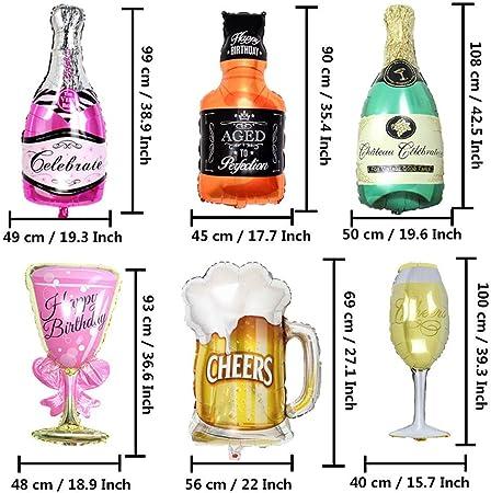 BESTZY Gigante Globos de Helio 9PCS Globo de Papel de Aluminio Botella de Vino Inflado Gigante para Decoración de la Fiesta de Bodas de Cumpleaños Vacaciones