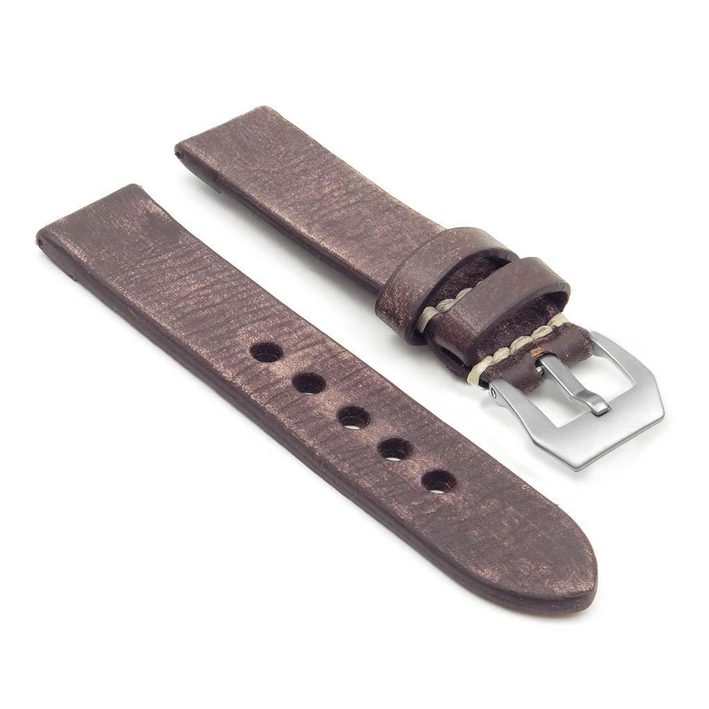 StrapsCo Extra Long Thick Distressedビンテージレザー時計バンドW /マットスチールpre-vバックル 24mm ダークブラウン 24mm|ダークブラウン ダークブラウン 24mm B01LXTNQME