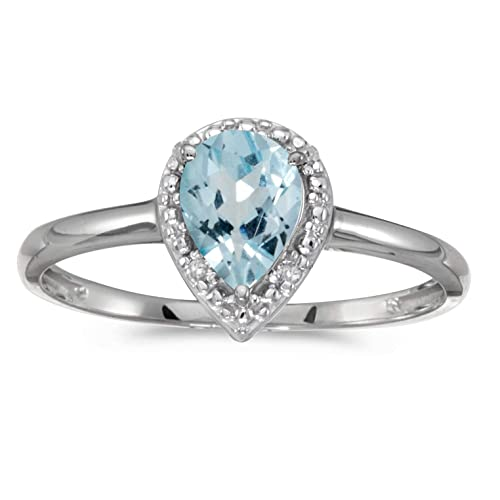 10k White Gold Pear Aquamarine And Diamond Ring
