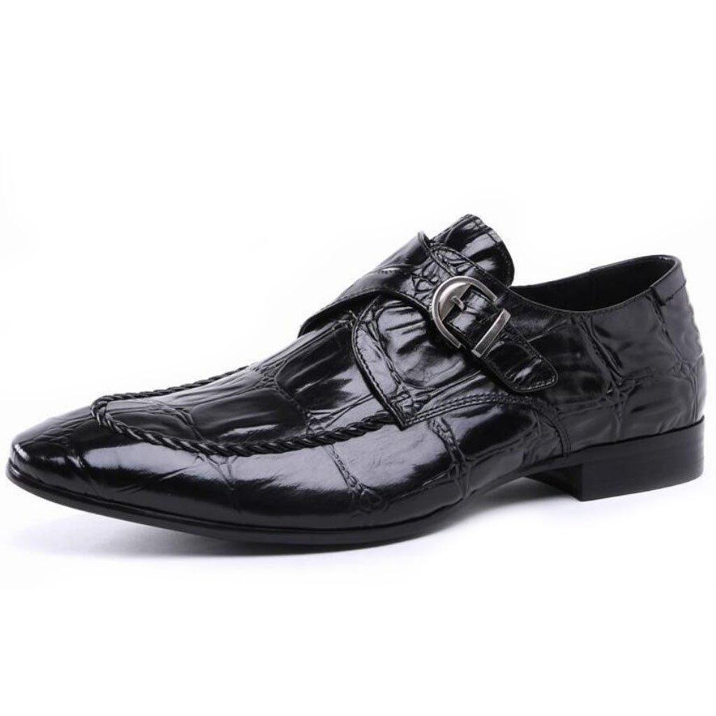 GAOLIXIA Zapatos de cuero de los hombres acentuados Zapatos casuales de los negocios de la moda Zapatos del banquete de boda Zapatos de los estilistas del pelo Zapatos de la carrera del trabajo ( Color : Negro , tamaño : 42 ) 42|Negro