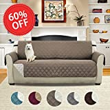 Pet Friendly Reversible Plush Faux Suede Furniture Protector for Dogs Cats, Features Protect from Pets, Spills, Wear and Tear (Sofa: Taupe/Beige)-75'' X 110''