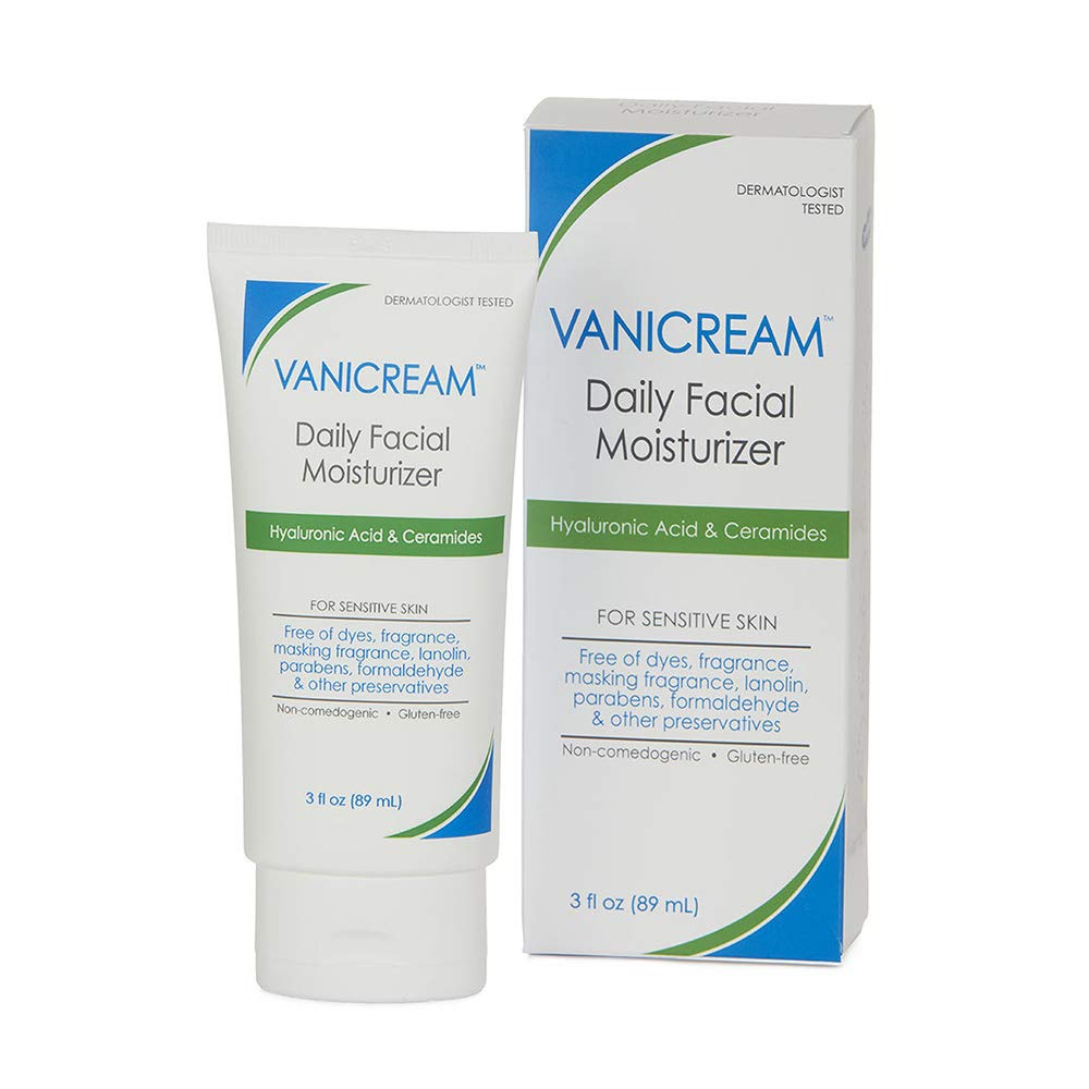 Vanicream Facial Moisturizer With Hyaluronic Acid For Sensitive Skin, Fragrance free 3 Fl Oz
