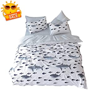BuLuTu Shark Fish Twin Boys Bedding Duvet Cover White Grey 100% Cotton,Ocean Whale Print Reversible Striped Teen Kids Duvet Cover Set Twin Cotton for Girls with Zipper Closure and Ties,No Comforter
