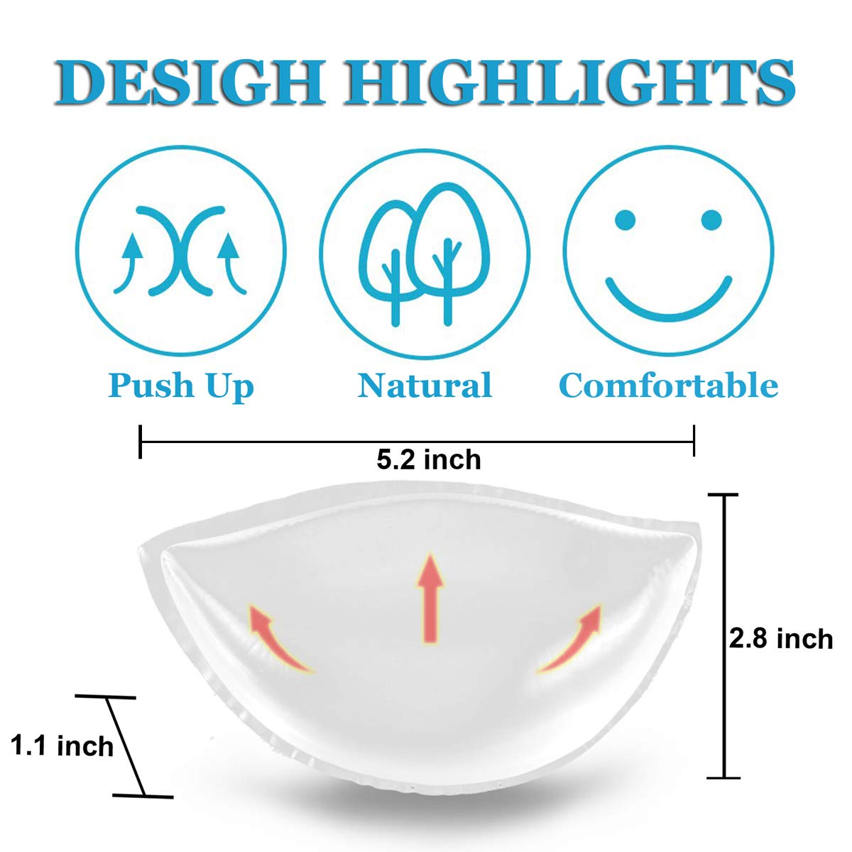 Silicone Bra Inserts Breast Enhancers Small Chest Push-up Bra Pads for Wedding Swimsuits and Bikini