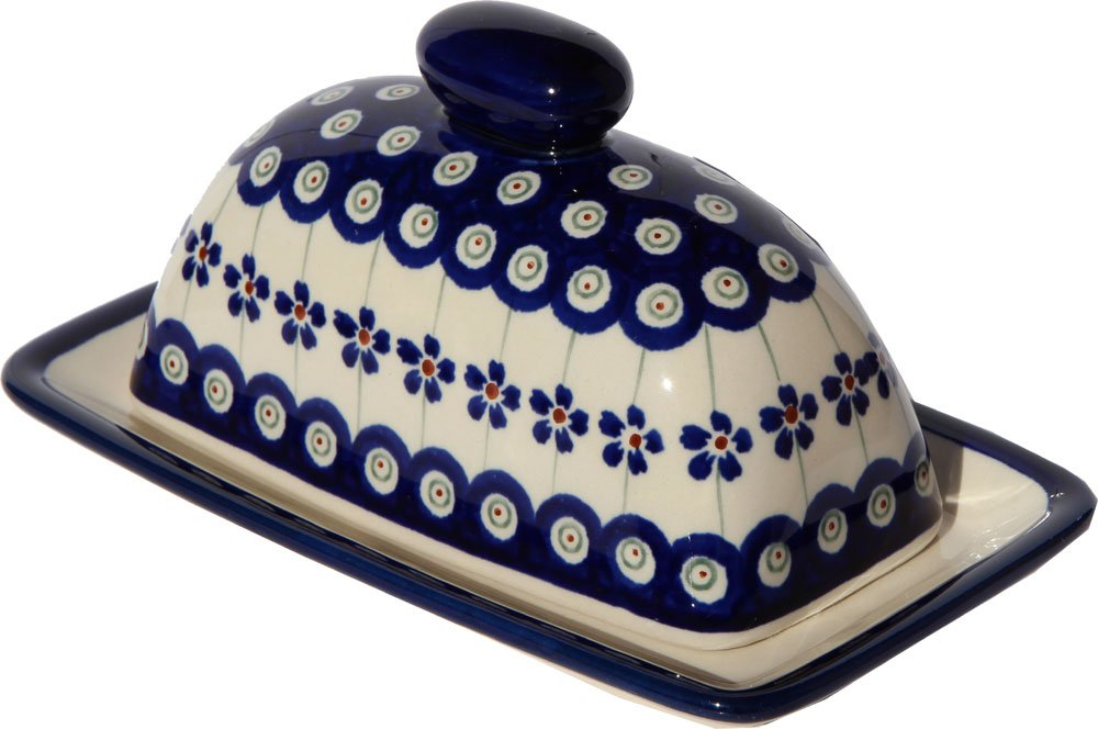 Polish Pottery Butter Dish 4'' X 7'' From Zaklady Ceramiczne Boleslawiec 1377-166a Floral Peacock Traditional Pattern