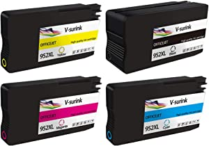 Remanufactured Ink Cartridge for HP 952XL Officejet Pro 8702 8210 8216 8710 8714 8715 8716 8717 8720 8724 8725 8726 8727 8730 8734 8735 8740 8743 8744 8745 8746 (1 Black, 1 Cyan, 1 Magenta, 1 Yellow)