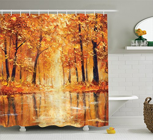Ambesonne Country Decor Shower Curtain, Painting of a Forest by The Small Lake in Autumn Pale Fall Trees and Leaves Mod Art, Fabric Bathroom Set with Hooks, 69W X 70L Inches Long, Orange Brown ()