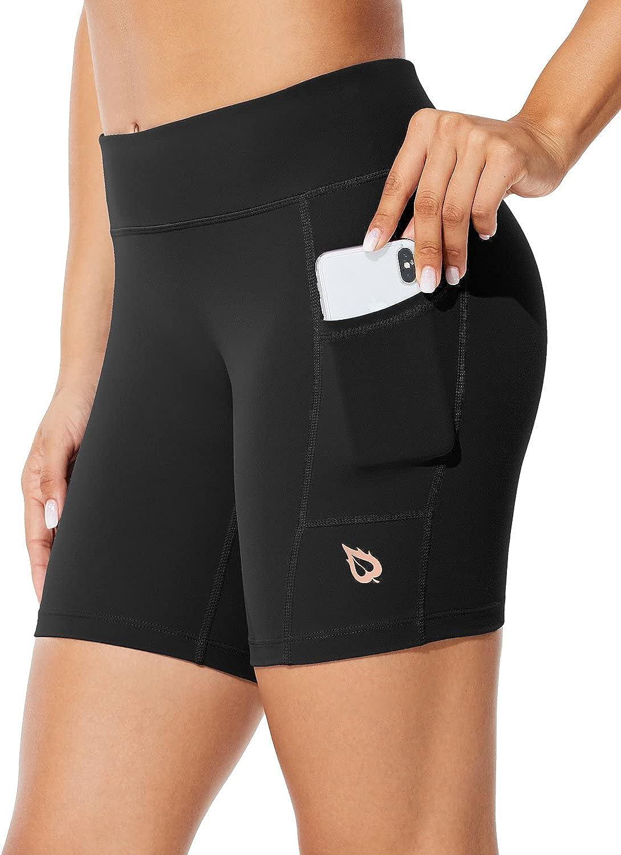 "BALEAF Women's 7"" Long Compression Running Shorts High Waisted Yoga Biker Shorts with 3 Pockets: Clothing"