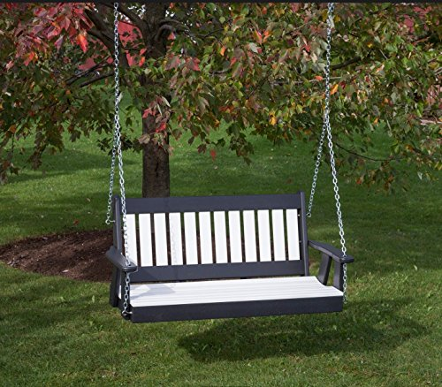 (5FT-BRIGHT WHITE-POLY LUMBER Mission Porch Swing Heavy Duty EVERLASTING PolyTuf HDPE - MADE IN USA - AMISH CRAFTED)