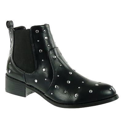ef87efc31a9 Angkorly - Chaussure Mode Bottine chelsea boots cavalier motard femme  clouté élastique Talon haut bloc 4