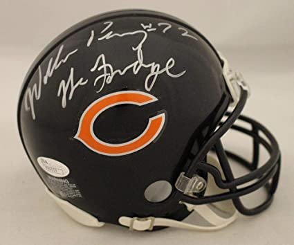 2e53b3daf Image Unavailable. Image not available for. Color  William Perry Autographed  Signed Chicago Bears Mini Helmet Fridge JSA