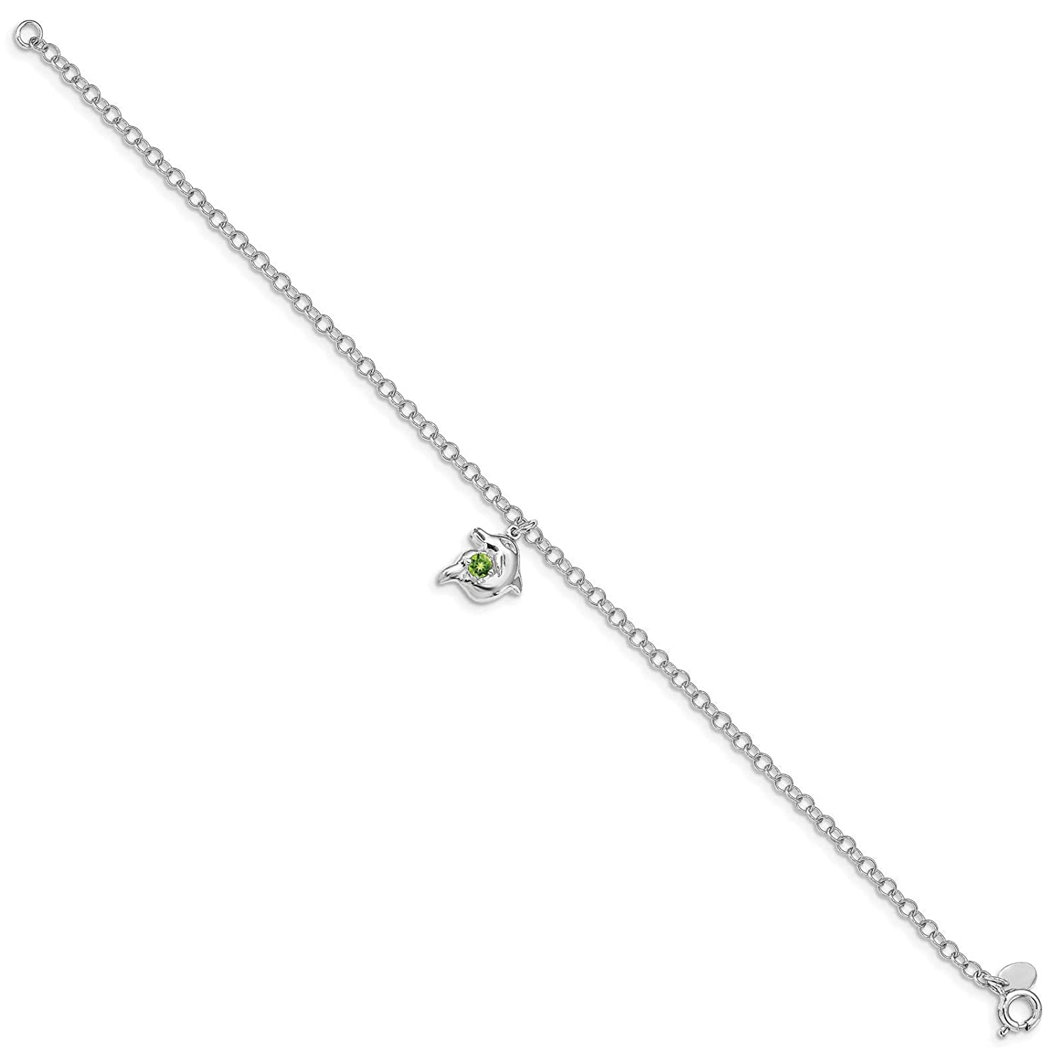 925 Sterling Silver Polished Jumping Dolphin w//Peridot August Stone Link Bracelet 7.5