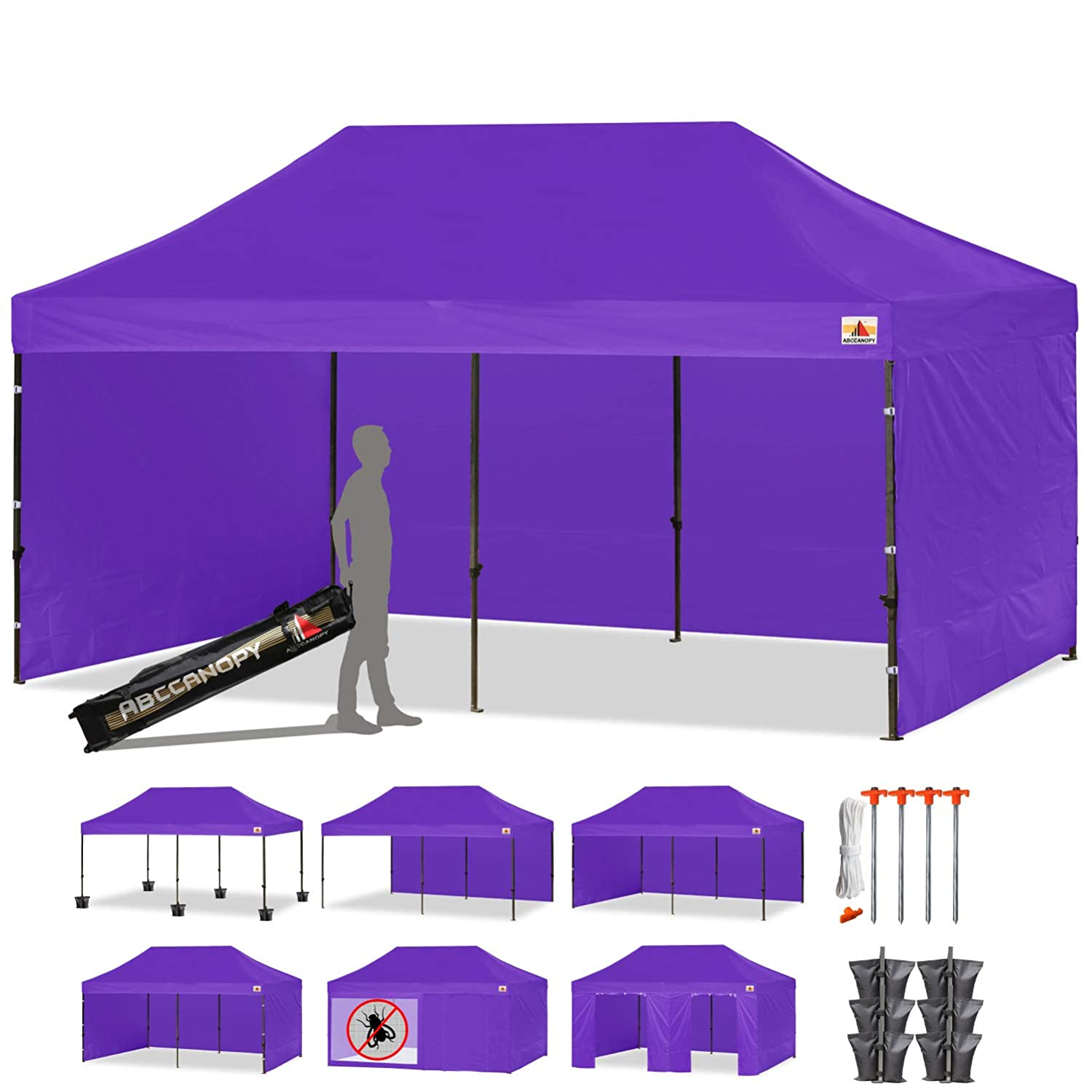 sale retailer f38ec 3cbc8 ABCCANOPY 10x20 Commercial Pop up Canopy Tent Instant Gazebos with 9  Removable Sides and Roller Bag and 6 Weight Bags (Purple)