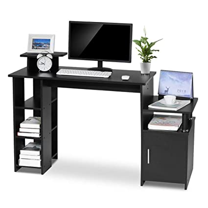 Fabulous Exblue Computer Desk Student Pc Workstation Laptop Table And Storage Unit Combo Ideal Desktop For Any Size Computers And Laptops Black Download Free Architecture Designs Scobabritishbridgeorg