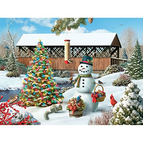 Bits and Pieces - 300 Piece Jigsaw Puzzle for Adults - Countryside Christmas - 300 pc Winter Holiday Snowman Jigsaw by Artist Alan Giana