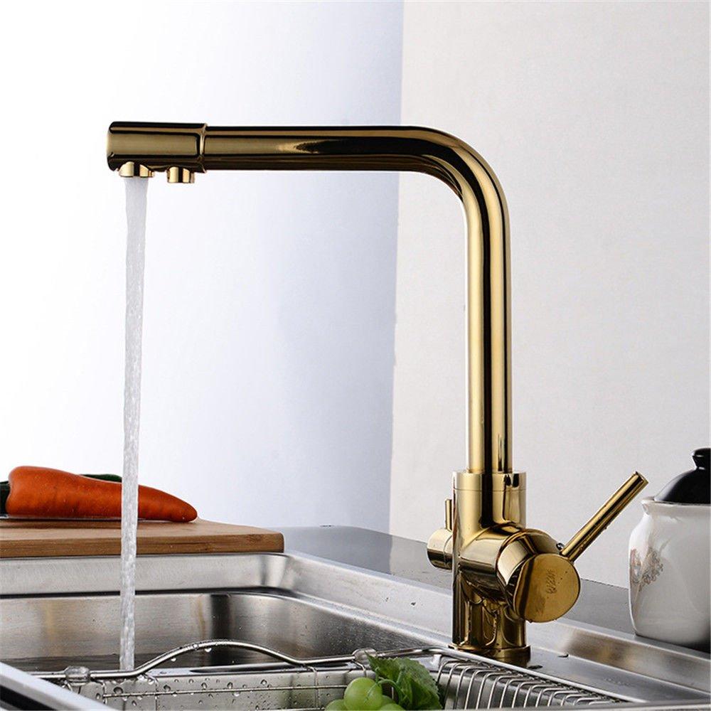 Good quality Antiquitäten Becken Spül Mischer Tap Pure Wasser Küchenarmatur Single-Connected VerGoldeten rotierenden Wasserhahn