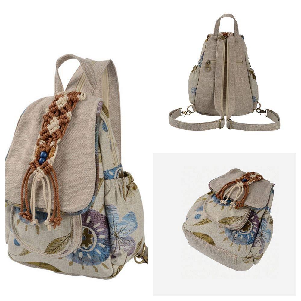 DEI QI Backpack Outdoor Travel Lady Retro Canvas Shoulder Bag Chest Bag Rucksack Leisure Travel Bag Bundle Bag Backpacks Student Pattern Color : B