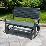 Sundale Outdoor Deluxe 2 Person Loveseat Glider Bench Chair Patio Porch Swing with Rocker, Dark Green