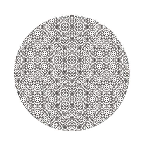 Polyester Round Tablecloth,Grey and White,Middle Eastern Mosaic Antique Pattern Victorian Baroque Damask Influences Decorative,Grey White,Dining Room Kitchen Picnic Table Cloth Cover,for Outdoor Indo -