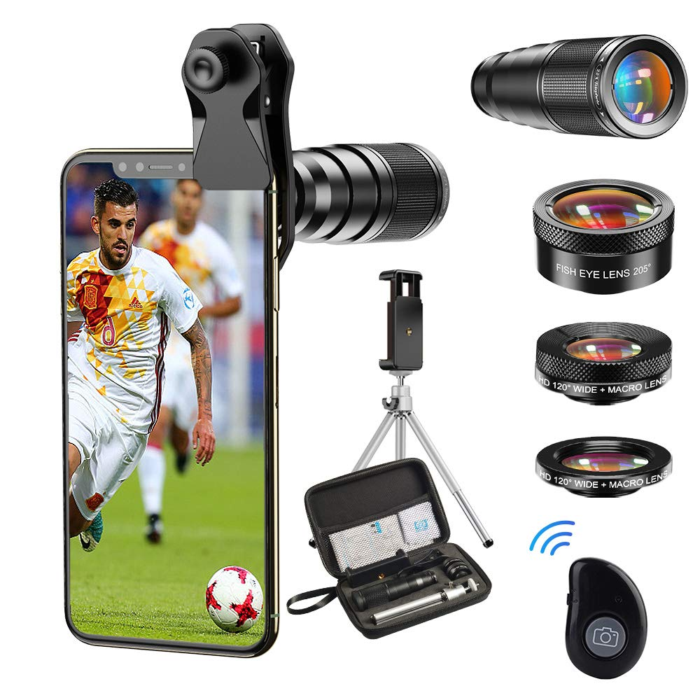 Apexel Cell Phone Camera Lens-22X telephoto Lens +25X Macro Lens+120° Wide Angle Lens+205°Fisheye 4 IN 1 Phone Lens Kit with tripods and remote shutter for iphone 11 pro huawei P30 Samsung and More